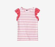Crazy 8 Girl's Stripe Ruffle Tee, Watermelon