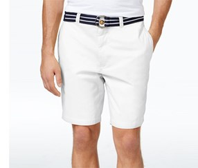 Club Room Mens Flat-Front Shorts, White