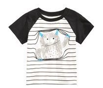 First Impressions Striped Monster T-Shirt, Angel White