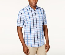 Tasso Elba Men's Plaid Shirt, Blue Combo