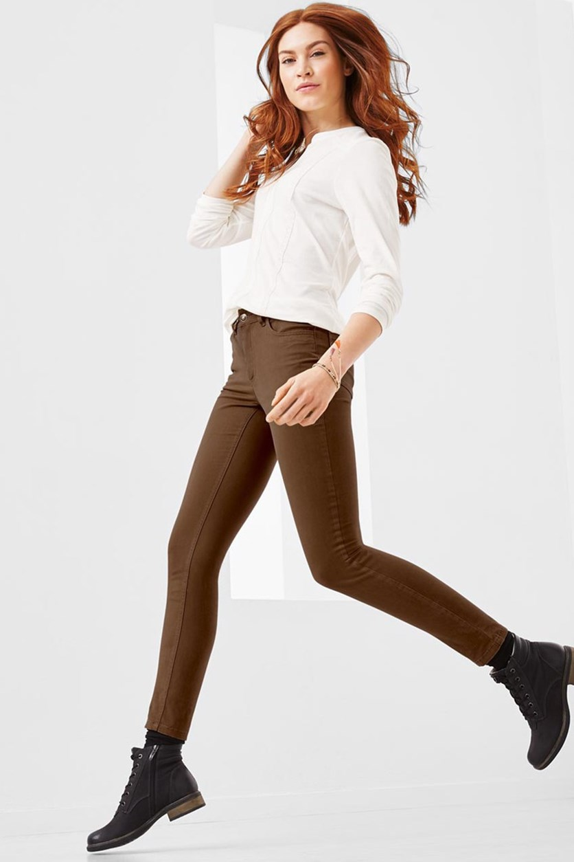 Women's Slim Fit Soft Pants, Cognac