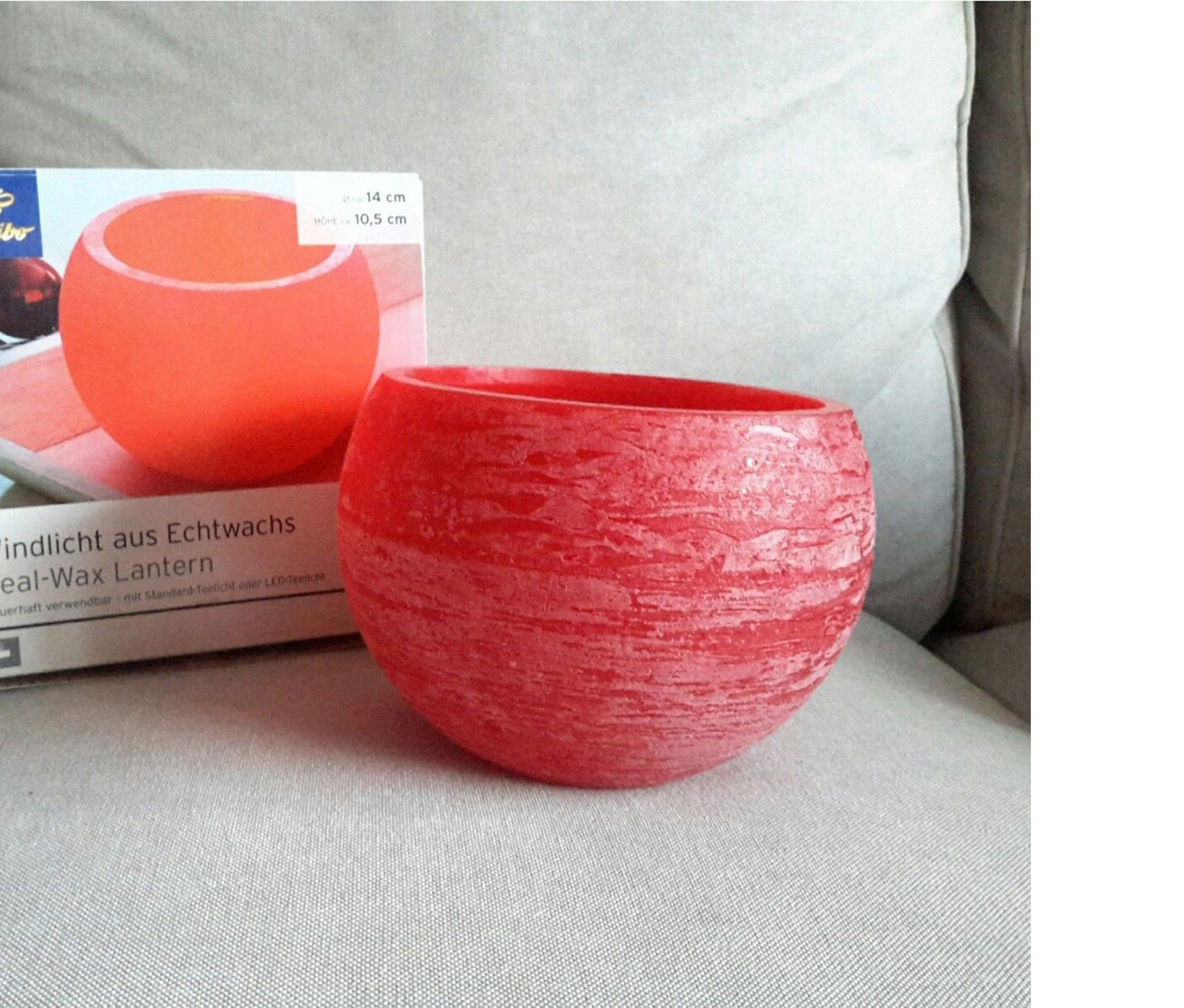 Real Wax Candel Holder, Red