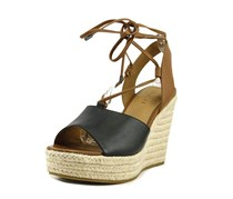Coach Women's Dana Open Toe Casual Espadrille Sandals Wedge, Black