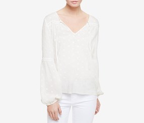 Sanctuary Womens Split-Neck Blouse, Milk
