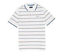Hackett Men's Stripe Cotton Pique Polo, White