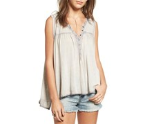 Free People Button-Snap Tank Top, Sky