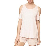 Sanctuary Heathered Cold-Shoulder Top, Barely Pink