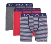Tahari Mens 3 Pack Classic Fit Boxer Briefs, Navy/Red/Charcoal