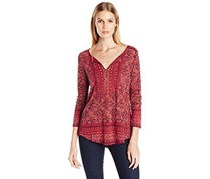 Lucky Brand Mixed-Print Peasant Top, Red Combo