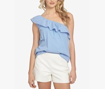 1.State Pinstripe One-Shoulder Flounce Tops, Liberty Blue