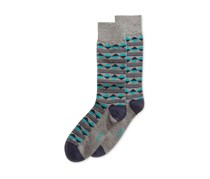 Alfani Men's Spectrum Diamond Print Single Dress Socks, Teal/Grey