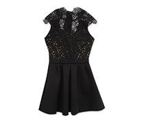 Rare Editions Girl's Lace Fit Flare Party Dress, Black