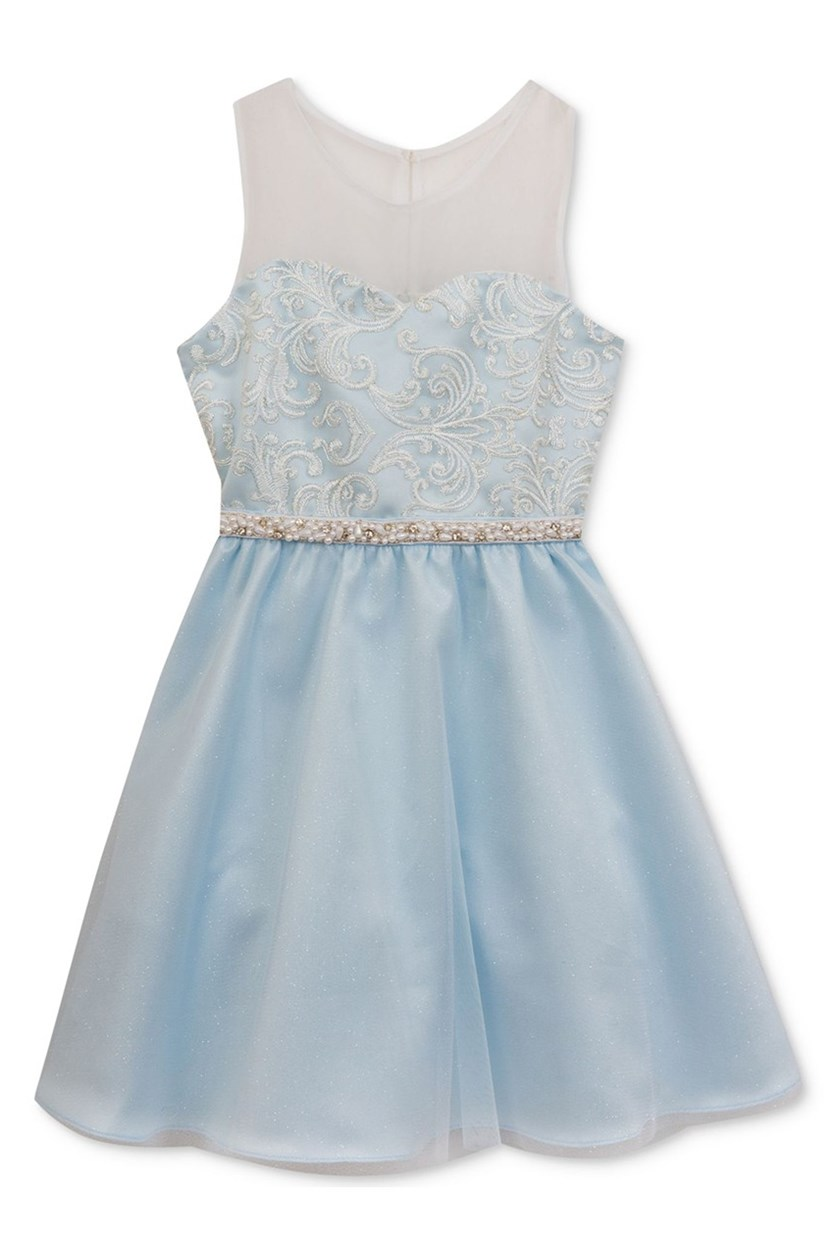 Girl's Embellished Illusion-Neck Dress, Blue