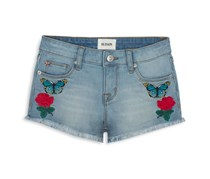 Hudson Girl's  Flower Field Embroidered Denim Shorts, Faded Blue