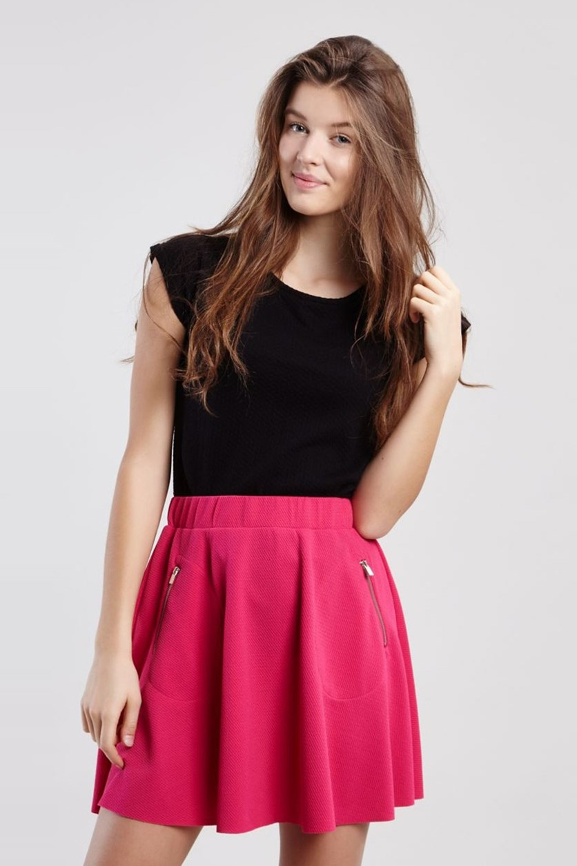 Womens Zippered Textured Skirt, Pink
