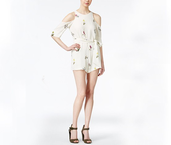 Printed Cold-Shoulder Romper, Ivory/Chartreuse Combo
