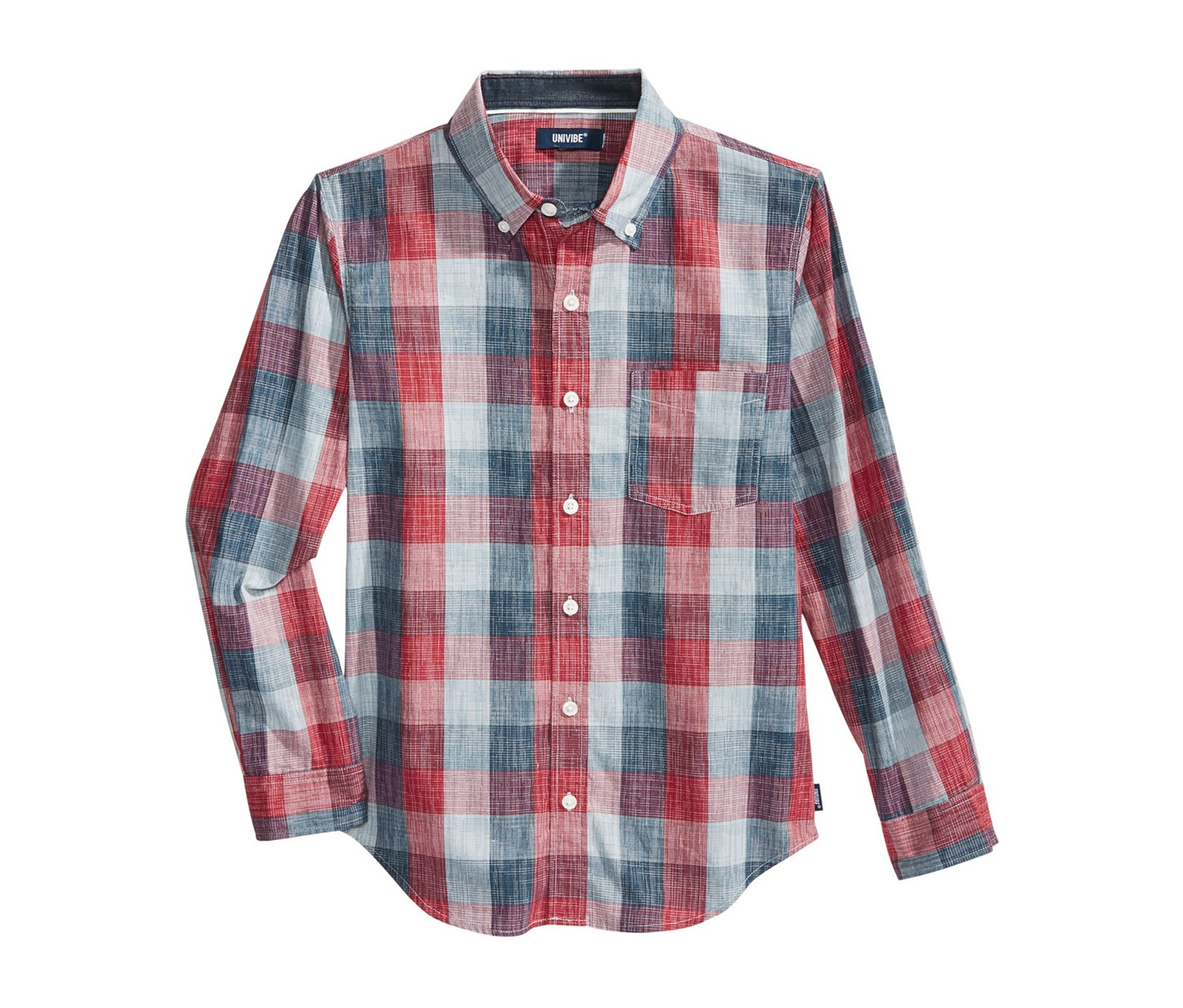 Boy's Tremor Plaid Cotton Shirt, Biking Red