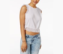 GUESS Naples Ruffled Crop Top, True White