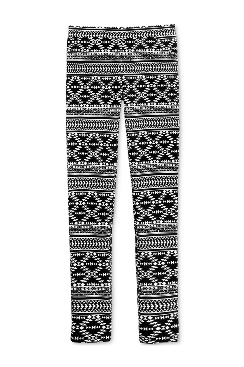 Girl's Printed Leggings, Deep Black