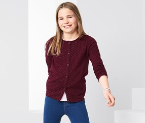 Girls Knit Cardigan, Bordeaux