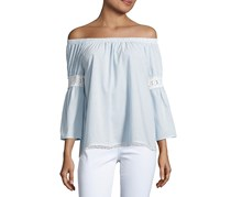 Joe's Off-the-Shoulder Embroidered Peasant Blouse, Blue/White