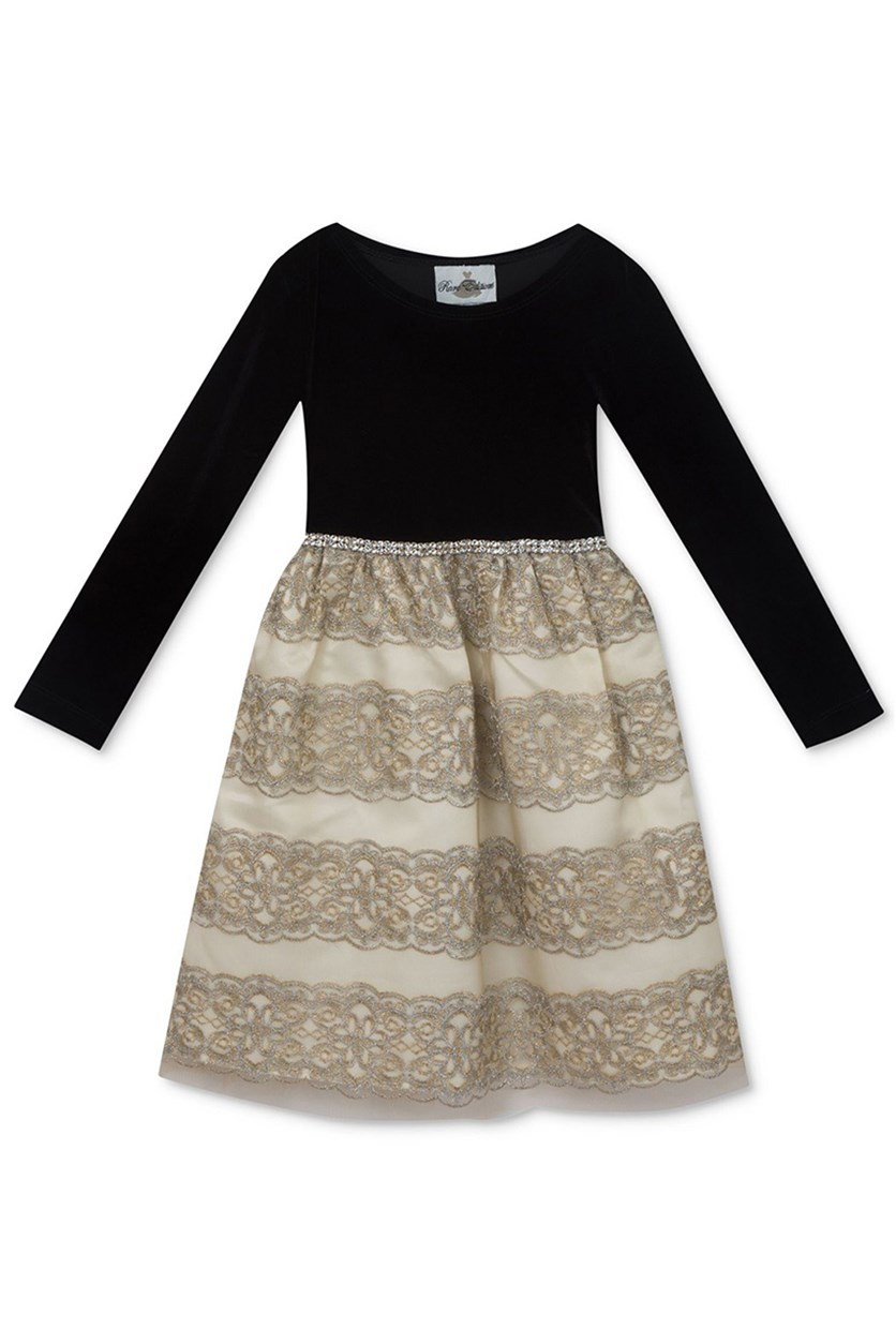 Girls Embroidered Skirt Party Dress, Black/Gold