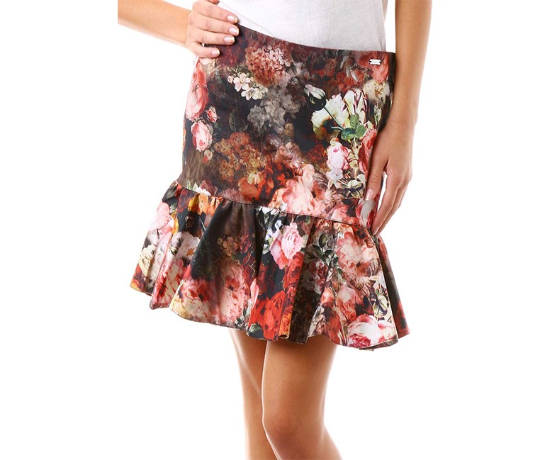 Women Ruffle Hem Skirt, Red/Pink Combo