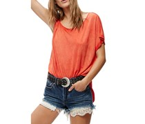 Women's Free People Pluto One-Shoulder Tee, Red Orange