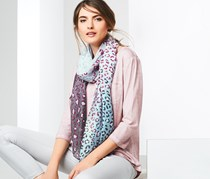 Scarf With Leo Print 200 x 80 cm, Purple/Turquoise