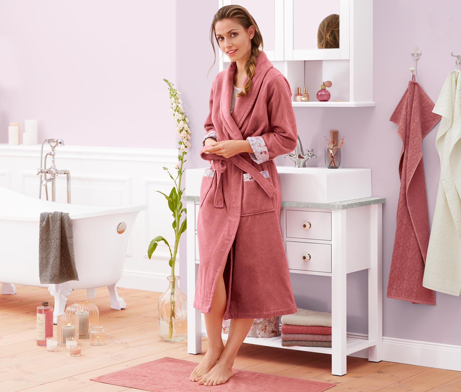 Velour Bathrobe, Pink
