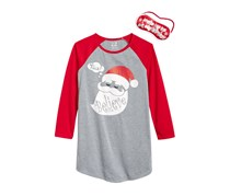 Max Olivia 2-Pieces Santa Believe Sleep Shirt, Grey/Red