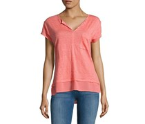 Sanctuary Short-Sleeve Layered-Look Top, Strawberry
