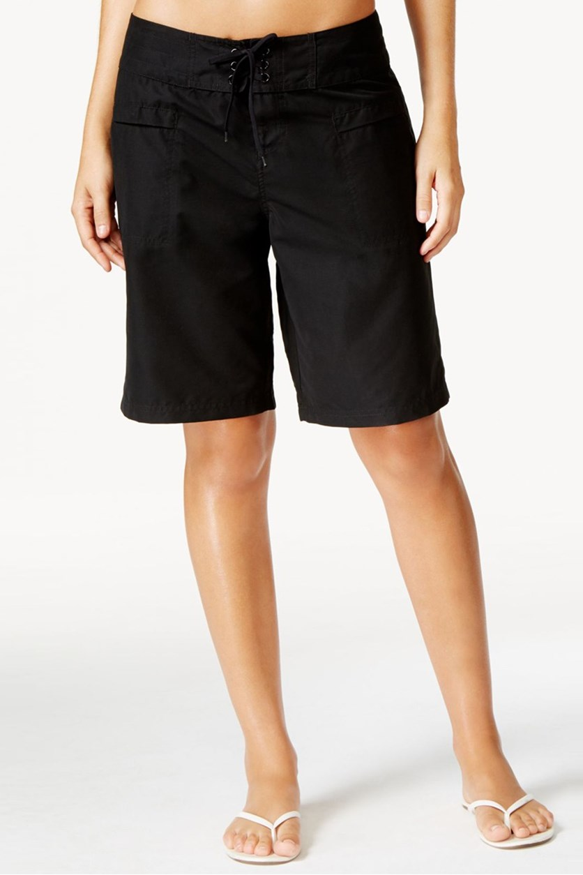 Women's  Lace-Up Board Shorts, Black