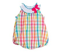 Rare Editions Baby Girls' Multicolor Plaid Seersucker Bubble Dress, Pink