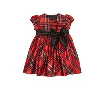 Bonnie Baby Plaid Taffeta Dress, Black/Red