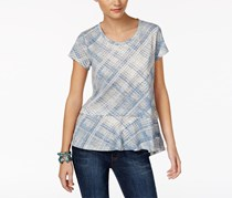 Style & Co Cotton Plaid High-Low Top, Blue/White