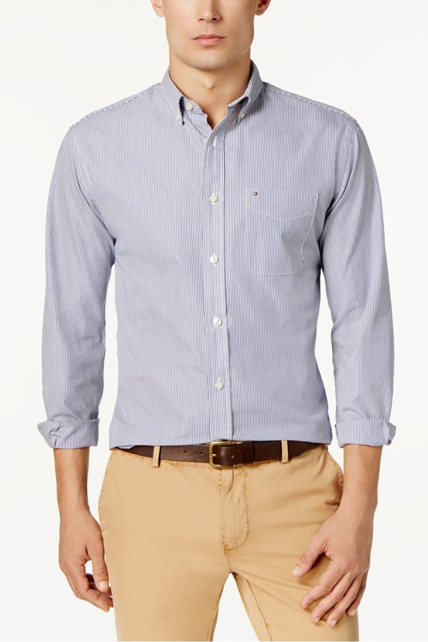 a45082c4 Shop Tommy Hilfiger Tommy Hilfiger Fitzgerald Striped Shirt, Blue ...