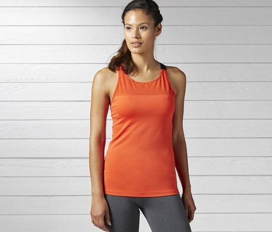 Women Training OS High Bra Long Tank, Red Orange