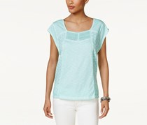 Style & Co Cotton Lace Eyelet-Embroidered Top, Aqua