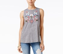 Women Embroidered Split-Back Top, Heather Grey