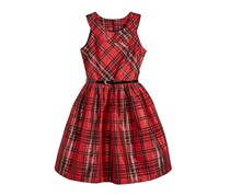 Bonnie Jean Metallic Plaid Fit & Flare Dress, Red