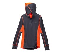 Youth Big Boys New Balance Half Zip Hooded Jacket, Dark Gray/Orange