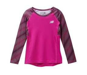 Youth Girls' New Balance Rashguard, Purple Combo