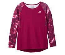 New Balance Girl's Long Sleeve Performance Top, Mulberry