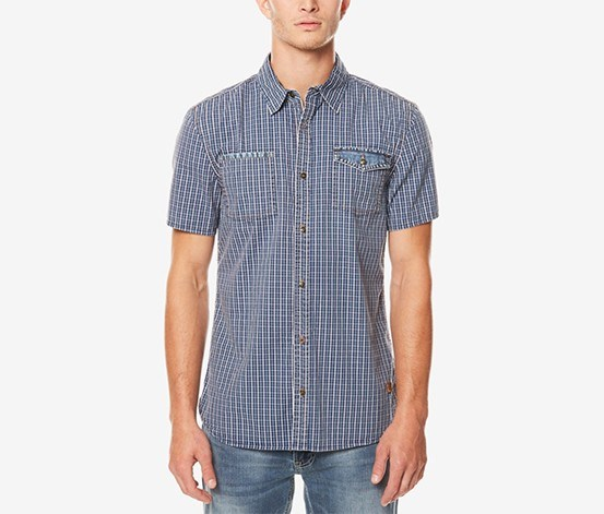 Mens Grid-Pattern Shirt, Indigo Check