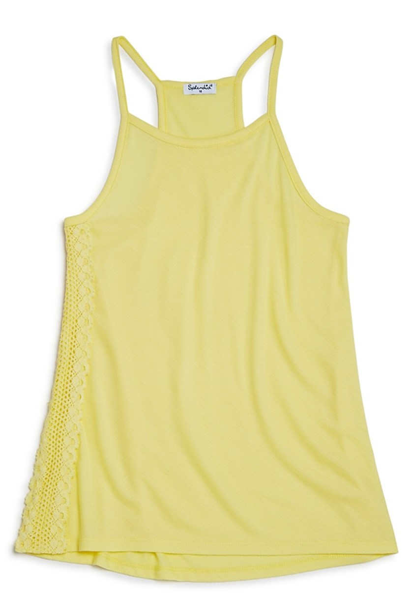 Girl's Splendid Crochet Trim Tank, Yellow