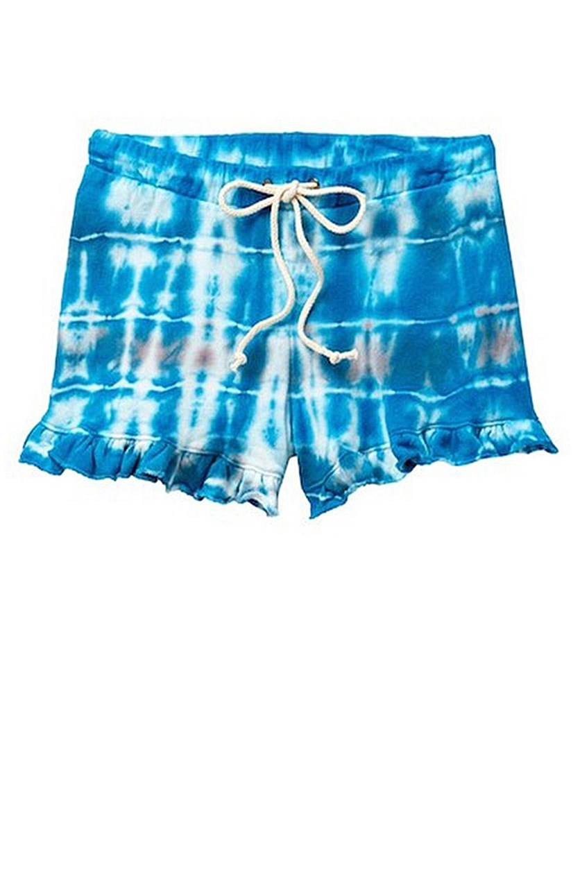 Girls' Tie Dye Ruffle Shorts, Teal/Blue/White