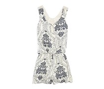 Vintage Havana Girls' Lace Trimmed Paisley Romper, Ivory/Navy Combo