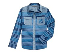 Sean John Big Boys  Horizontal Stripe Brushed Shirt, Blue
