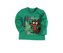 Boboli Little Kids Long Sleeves Graphic Tee, Green